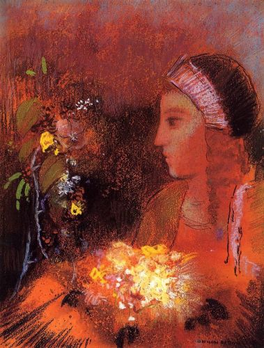 Woman with Flowers by Odilon Redon