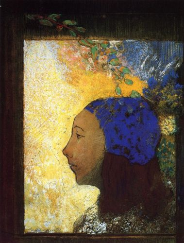 Young Girl in a Blue Bonnet by Odilon Redon