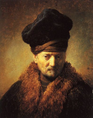 Bust of an Old Man in a Fur Cap by Rembrandt van Rijn