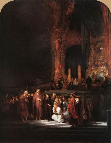 Christ and the Woman Taken in Adultery by Rembrandt van Rijn