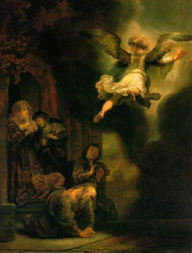 The Archangel Leaving the Family of Tobias by Rembrandt van Rijn