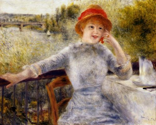 Alphonsine Fournaise on the Isle of Chatou, 1879 by Pierre-Auguste Renoir