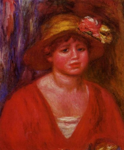 Bust of a Young Woman in a Red Blouse, 1915 by Pierre-Auguste Renoir