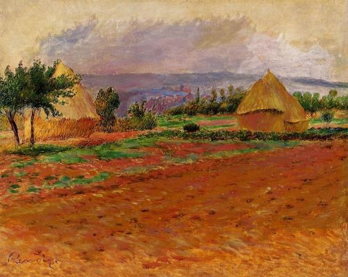 Field and Haystacks, 1885 by Pierre-Auguste Renoir