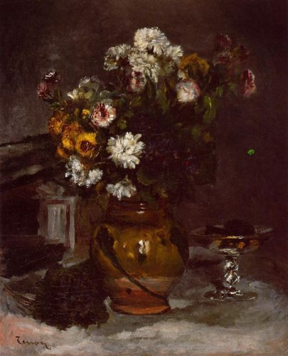 Flowers in a Vase and a Glass of Champagne by Pierre-Auguste Renoir