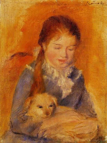 Girl with a Dog, 1875 by Pierre-Auguste Renoir