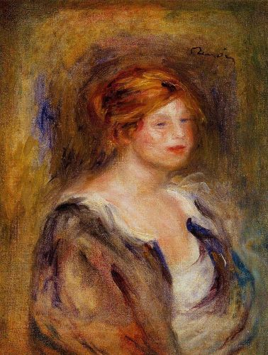 Head of a Blond Woman (Young Girl in Blue), 1906-1909 by Pierre-Auguste Renoir