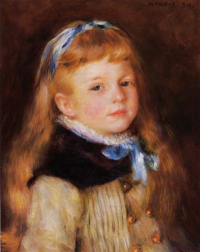 Mademoiselle Grimprel in a Blue Ribbon, 1880 by Pierre-Auguste Renoir