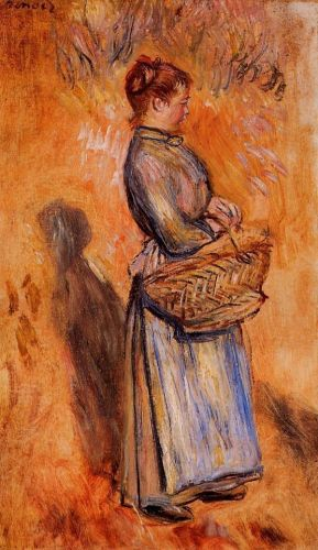 Peasant Woman Standing in a Landscape, 1884 by Pierre-Auguste Renoir