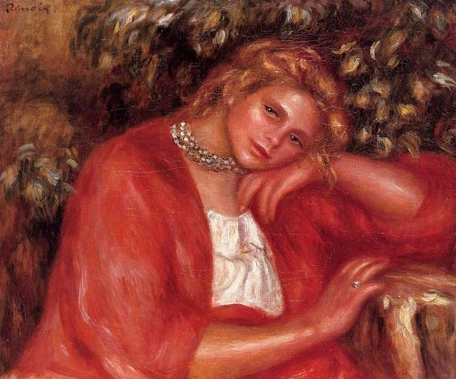 Pensive Young Woman Leaning on Her Elbow, 1908 by Pierre-Auguste Renoir