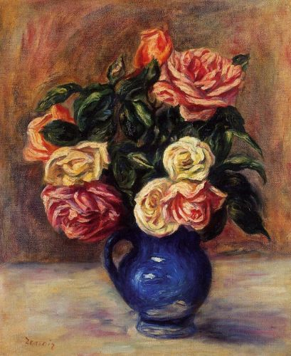 Roses in a Blue Vase, 1900 by Pierre-Auguste Renoir