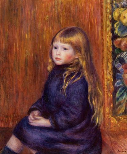 Seated Child in a Blue Dress, 1889 by Pierre-Auguste Renoir
