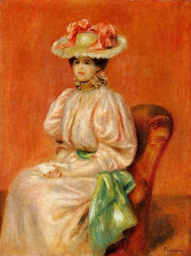 Seated Woman with Green Sash by Pierre-Auguste Renoir