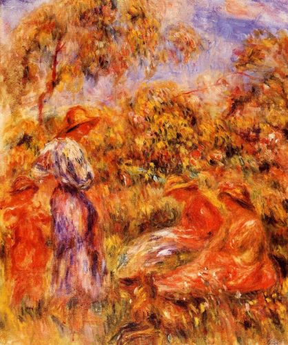 Three Women and Child in a Landscape, 1918 by Pierre-Auguste Renoir