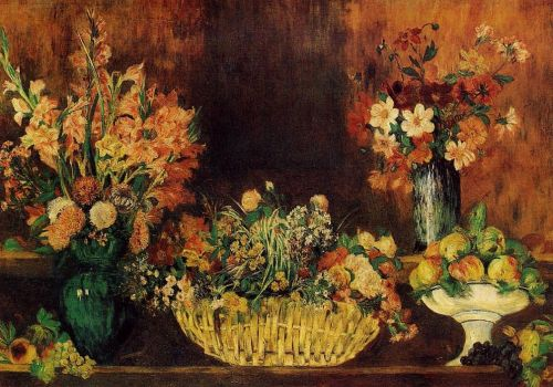 Vase, Basket of Flowers and Fruit, 1889-1890 by Pierre-Auguste Renoir