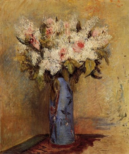Vase of Lilacs and Roses, 1870 by Pierre-Auguste Renoir