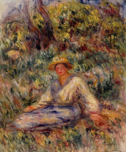 Woman in Blue in a Landscape, 1916 by Pierre-Auguste Renoir