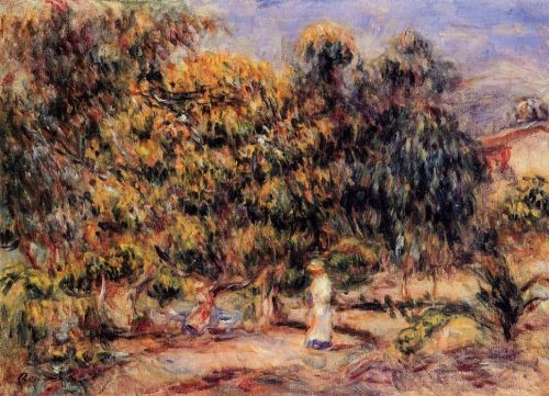 Woman in White in the Garden at Colettes by Pierre-Auguste Renoir