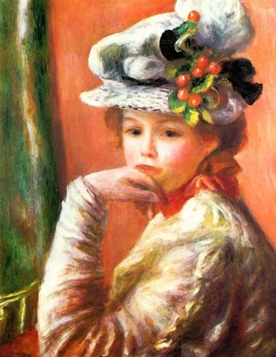 Woman Leaning on Her Hand (Young Girl in a White Hat), 1892 by Pierre-Auguste Renoir