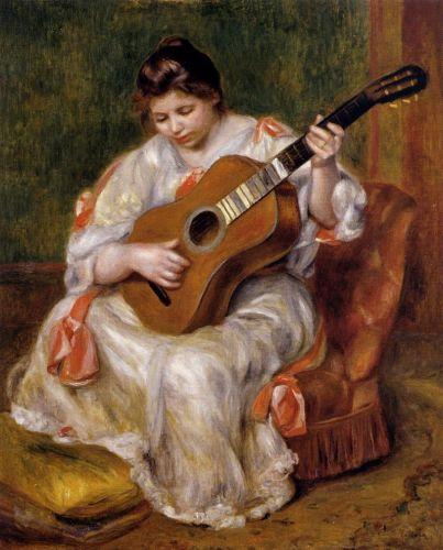 Woman Playing the Guitar, 1896 by Pierre-Auguste Renoir