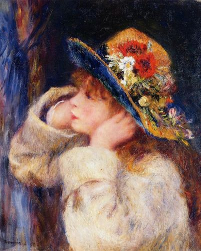 Young Girl in a Hat Decorated with Wildflowers, 1880 by Pierre-Auguste Renoir