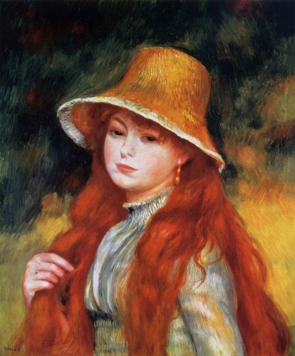 Young Girl in a Straw Hat, 1884 by Pierre-Auguste Renoir