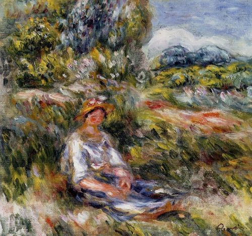 Young Girl Seated in a Meadow, 1916 by Pierre-Auguste Renoir