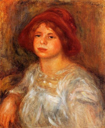 Young Girl Wearing a Red Hat, 1913 by Pierre-Auguste Renoir