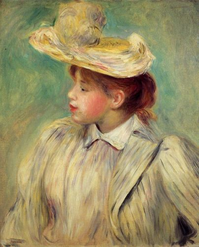 Young Woman in a Straw Hat by Pierre-Auguste Renoir
