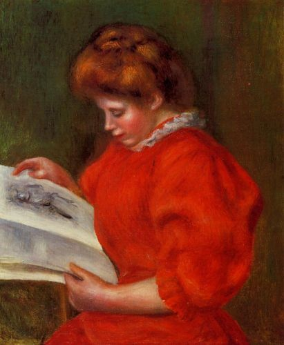 Young Woman Looking at a Print, 1896 by Pierre-Auguste Renoir