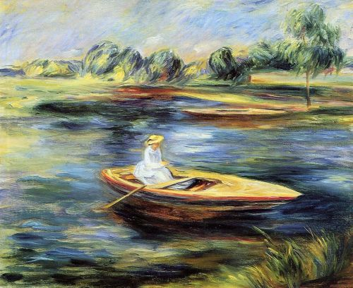 Young Woman Seated in a Rowboat by Pierre-Auguste Renoir