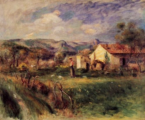 Young Woman Standing near a Farmhouse in Milly, 1892 by Pierre-Auguste Renoir