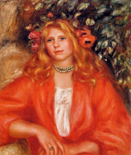 Young Woman Wearing a Garland of Flowers, 1908 by Pierre-Auguste Renoir