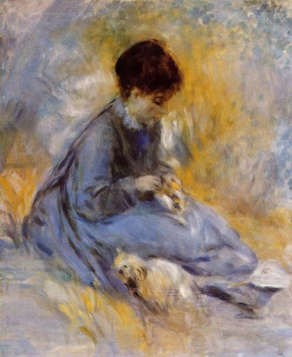 Young Woman with a Dog, 1876 by Pierre-Auguste Renoir