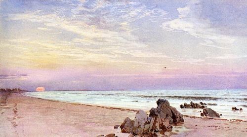Beach with Rising Sun, New Jersey by William Trost Richards