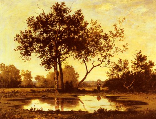 Figure beside a Pool in a wooded Landscape by Leon Richet