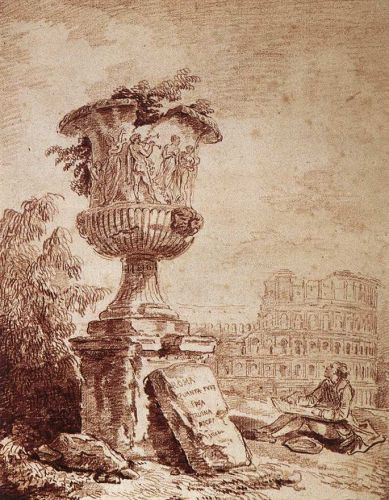 The Draughtsman of the Borghese Vase by Hubert Robert