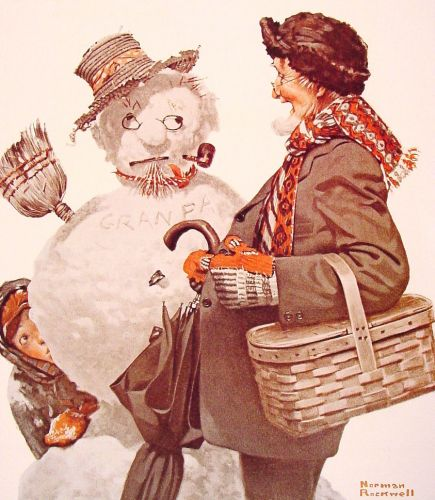 Grandfather and Snowman by Norman Rockwell
