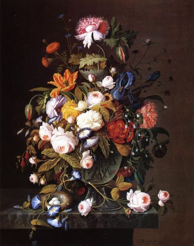 Floral Still Life with Bird's Nest by Severin Roesen