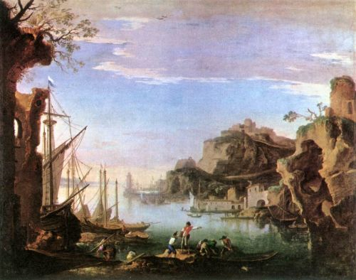 Harbour with Ruins by Salvator Rosa