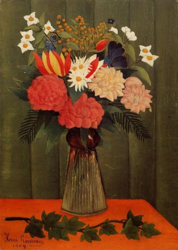Bouquet of Flowers with an Ivy Branch by Henri Le Douanier Rousseau