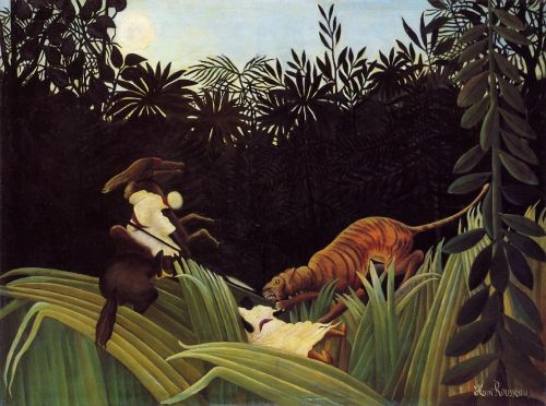 Scout Attacked by a Tiger by Henri Le Douanier Rousseau