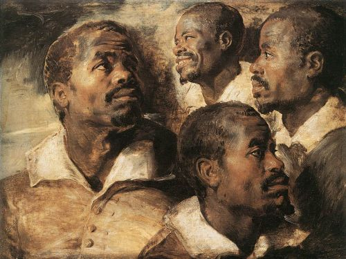 Four Studies of the Head of a Negro by Peter Paul Rubens