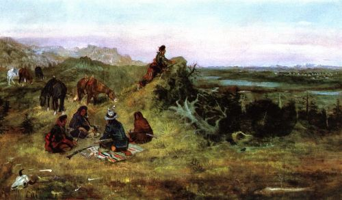 The Piegans Preparing to Steal Horses from the Crows by Charles Marion Russell