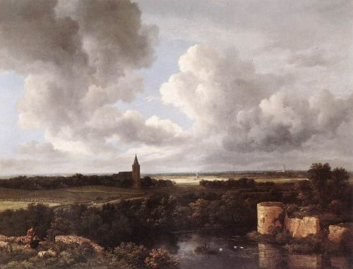 An Extensive Landscape with a Ruined Castle and a Village Church by Jacob Isaakszoon van Ruysdael