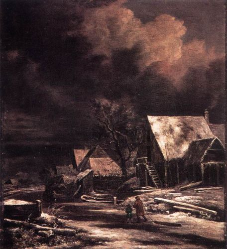 Village at Winter at Moonlight by Jacob Isaakszoon van Ruysdael