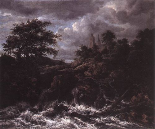 Waterfall by a Church by Jacob Isaakszoon van Ruysdael