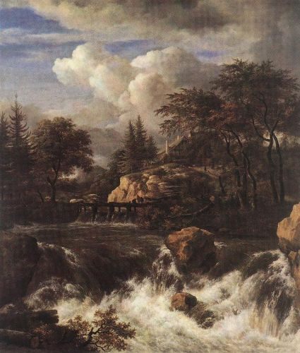 Waterfall in a Rocky Landscape by Jacob Isaakszoon van Ruysdael