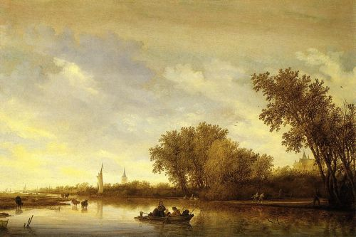 A River Landscape with Boats and Chateau by Salomon van Ruysdael