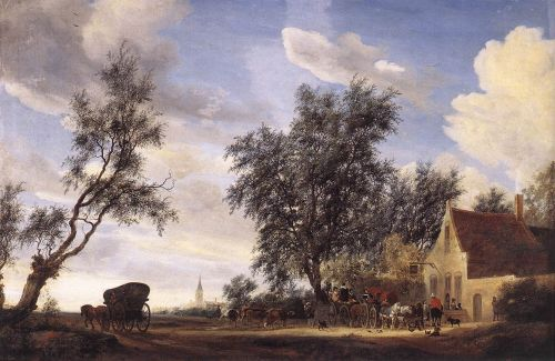 Halt at an Inn by Salomon van Ruysdael
